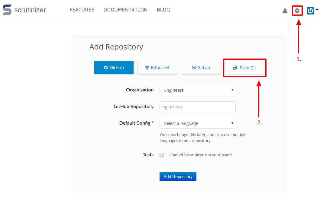 Page that shows how the return page looks after being redirected back from GitHub
