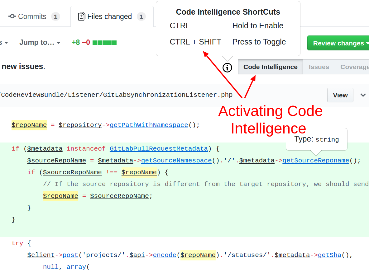 Viewing Code Intelligence
