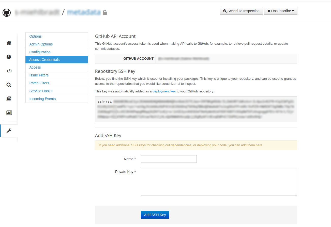 Access Credentials Page